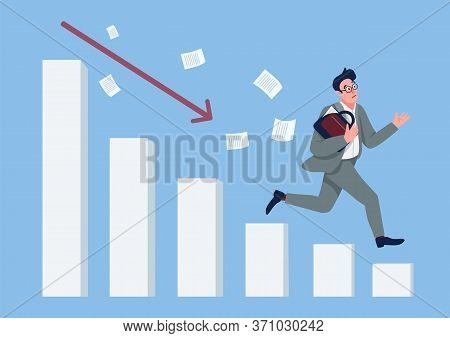 Economic Crisis Flat Concept Vector Illustration. Businessman Running Down Falling Chart In Panic 2d