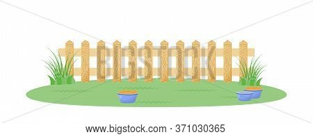 Backyard With Fence Flat Color Vector Illustration. Playground For Domestic Animal. Feeding Bowl On