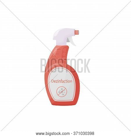 Disinfection Product Cartoon Vector Illustration. Antibacterial Agent In Bottle Flat Color Object. A
