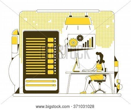Data Backup Thin Line Concept Vector Illustration. User, Sysadmin Copying Information From Server 2d