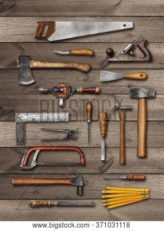 Old Carpenter Diy Hand Tools On Weathered Wooden Plank Background, Soft Drop Shadow