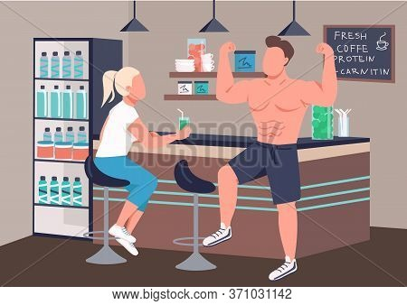 Fitness Culture Flat Color Vector Illustration. Man And Woman In Fitness Bar 2d Cartoon Characters W