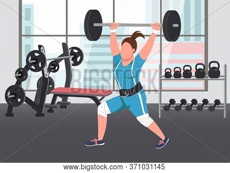 Weightlifting Flat Color Vector Illustration. Strong Sportswoman, Female Athlete Lifting Barbell 2d