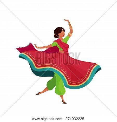 Woman In Flowing Sari Flat Color Vector Faceless Character. Dynamic Dancing Pose. Indian Female Perf