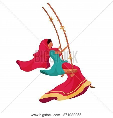 Woman In Sari Flat Color Vector Faceless Character. Traditional Indian Ceremony For Religious Holida