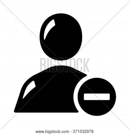 Remove User Icon In Line Style. User Profile Symbol With Minus Sign Illustration. Unfriend Symbol Fo