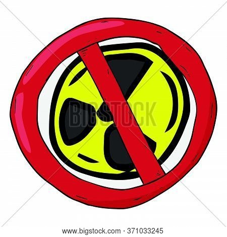 Banner Prohibiting Nuclear Weapons. Sign A Ban On Nuclear Missiles And Nuclear Tests.