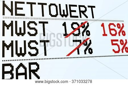Duty And Taxes. German Tax Cut On Value-added Tax (vat). Receipt Or Invoice. Value, Vat And Amount (