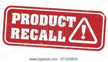 Red Grungy Product Recall Stamp Or Label With Warning Symbol Vector Illustration