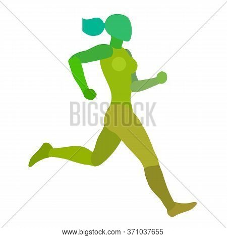Running Woman. Jogging Girl. The Abstract Silhouette Isolated On A White Background.