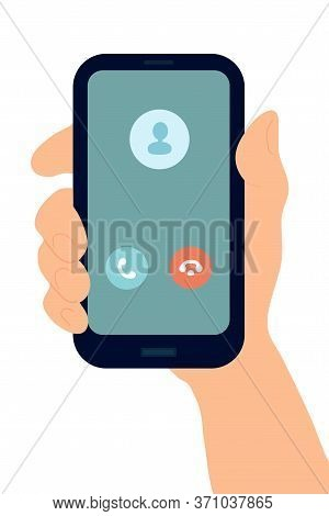 Hand With Smartphone. White Woman Holds Phone. Generic Incoming Phone Call Screen User Interface. Fl