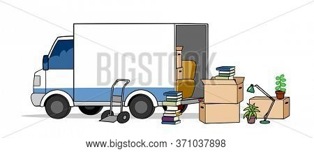 Truck of a moving company with moving boxes when moving as a service