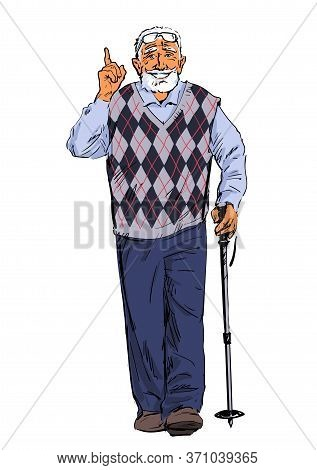 Old Man Walking With A Tracking Stick. Fitness For Elderly People. Active Senior Is Hiking. Vector I