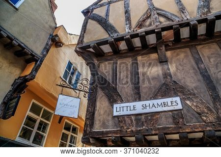York, Great Britain - September 9, 2014: These Are Old City District With Overhanging Wooden Buildin