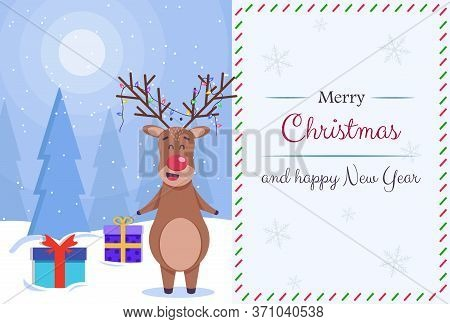 Merry christmas greeting card vector background. Merry christmas and happy new year. Beautiful and cute cartoon stylized deer. Christmas greeting card. Merry christmas greeting card vector background. Merry christmas and happy new year