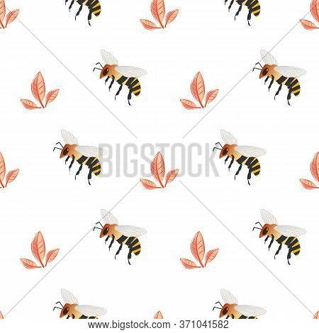 Honey Bee Vector Seamless Pattern Background. Delicate Hand Drawn Striped Insect And Subtle Petal Pa