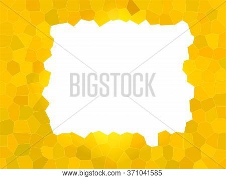 Abstract Yellow And White Background. White Square With Jagged Edges. White Square On A Yellow Mosai