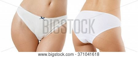 Set Female Panties Front And Back View, Sexy Woman Body Isolated Close Up, Panties Mockup Front Rear