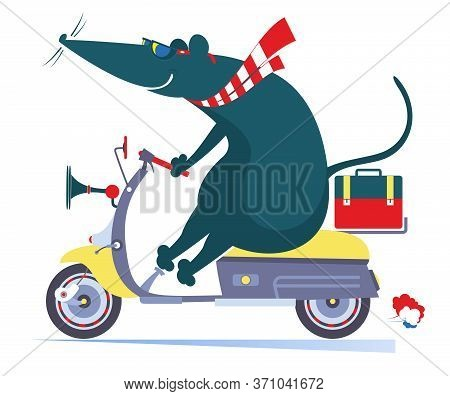 Funny Rat Or Mouse Rides On The Scooter Illustration. Cartoon Rat Or Mouse Rides On The Scooter Isol