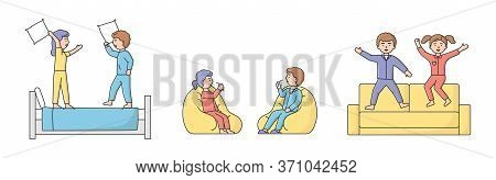 People Home Pastimes Concept. Characters Spend Time At Home. Young Couple Is Having Pillow Battle On
