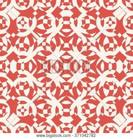 Abstract Ornamental Seamless Pattern. Vector Texture With Curved Shapes. Vintage Background In Red A