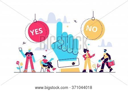 Choose Vector Illustration. Flat Tiny Options Choice Process Persons Concept. Symbolic Scene With Ye