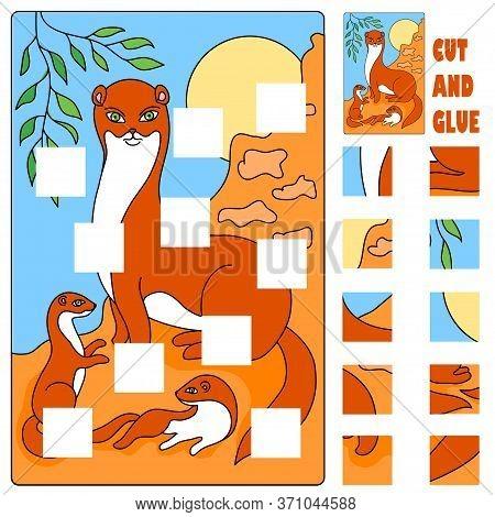 Ermine Animal Applique Cut Glue  Illustration Vector