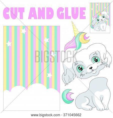 Dog Puppy Unicorn Animal Applique  Illustration Vector