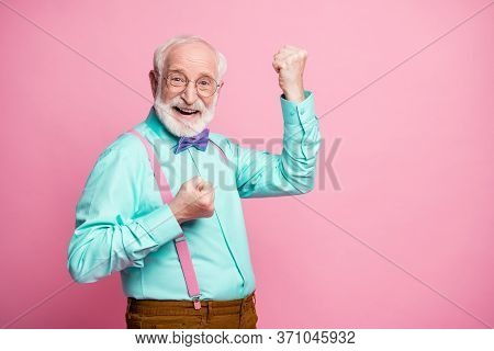 Profile Photo Of Funky Crazy Grandpa Raise Fists Ecstatic Good Mood Cool Achievement Wear Specs Mint