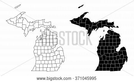 The Black And White Michigan State County Maps
