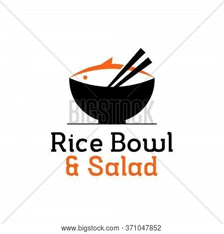 Healthy Food Modern Logo Design Template. Rice Bowl Icon With Chopstick Vector For Poke Bar Industry