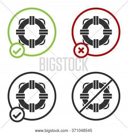 Black Lifebuoy Icon Isolated On White Background. Lifebelt Symbol. Circle Button. Vector