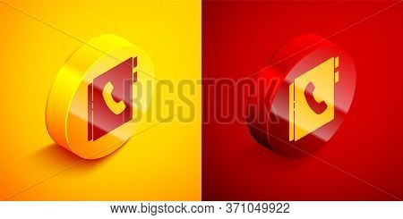 Isometric Address Book Icon Isolated On Orange And Red Background. Notebook, Address, Contact, Direc
