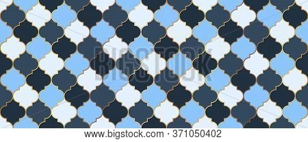 Seamless Moroccan Mosaic Design. Traditional Ramadan Golden Mosque Grid. Eid Mubarak Islamic Backgro