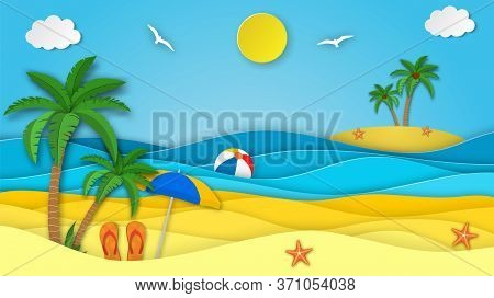 Sea Landscape With Beach, Waves, Clouds, Flipflops Shoe. Paper Cut Out Digital Craft Style. Abstract