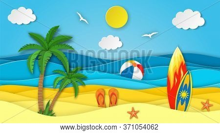 Sea Landscape With Beach, Surfboard, Waves, Clouds, Flipflops Shoe. Paper Cut Out Digital Craft Styl