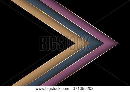 Polygonal Arrow With Gold Triangle Edge Lines Banner Vector Design. Stylish Business Background Temp