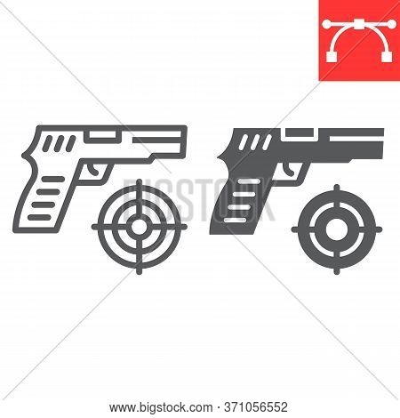 Shooter Game Line And Glyph Icon, Video Games And Gun, Shooting Target Sign Vector Graphics, Editabl