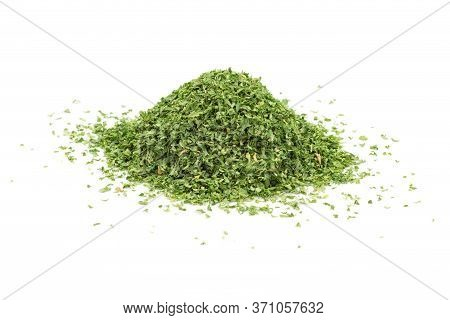 Heap Of Dried Parsley Leaf Isolated On White Background.