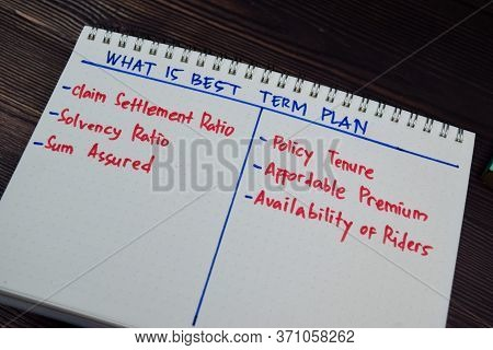 What Is Best Term Plan Write On A Book With Keywords Isolated Wooden Table.