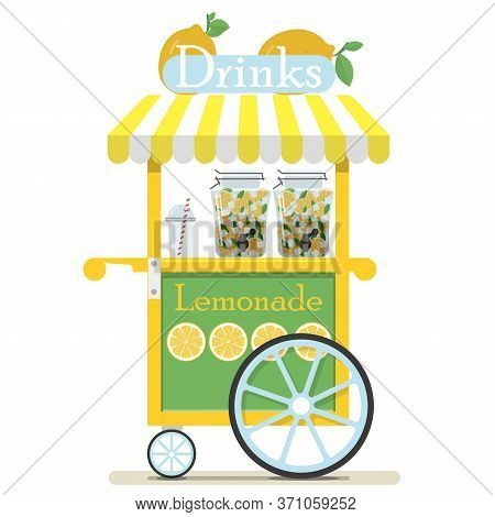 Flat Cute Cart With Lemonade And Soft Drinks. Diner In The Park, At The Fair, Street And Festival. V