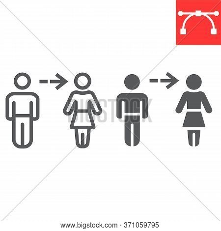 Gender Transition Line And Glyph Icon, Lgbt And Pride, Gender Change Sign Vector Graphics, Editable