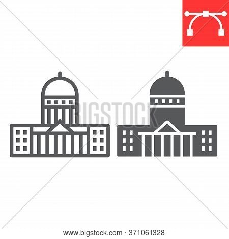 Capitol Building Line And Glyph Icon, Usa And Congress, Washington Capitol Sign Vector Graphics, Edi