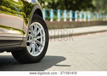 Grodno, Belarus - June 2020: Bmw X3 Ii F25 2.0i Xdrive Wheel Alloy Wheels With Summer Tires With Bmw