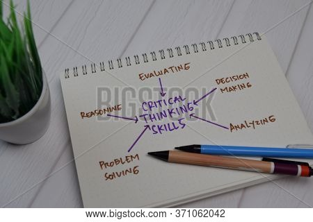 Critical Thinking Skills Write On A Book With Keywords Isolated Wooden Table.