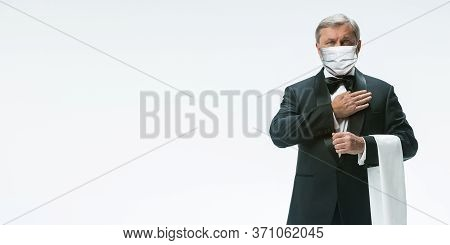 We Are Open. Elegance Senior Man Waiter In Protective Face Mask On White Background. Flyer With Copy
