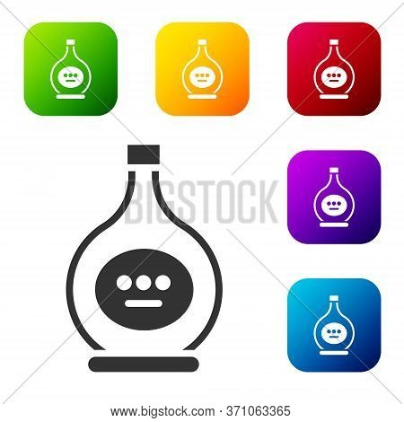 Black Bottle Of Cognac Or Brandy Icon Isolated On White Background. Set Icons In Color Square Button