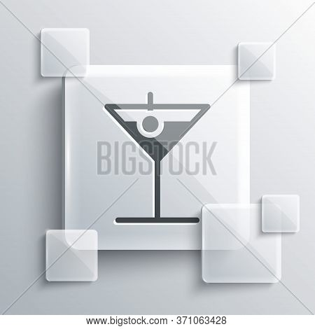 Grey Martini Glass Icon Isolated On Grey Background. Cocktail Icon. Wine Glass Icon. Square Glass Pa