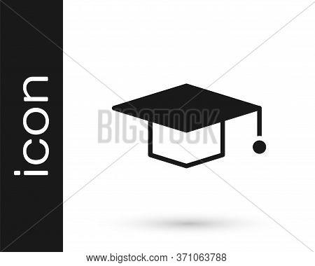 Grey Graduation Cap Icon Isolated On White Background. Graduation Hat With Tassel Icon. Vector Illus