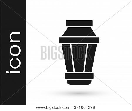 Grey Garden Light Lamp Icon Isolated On White Background. Solar Powered Lamp. Lantern. Street Lamp.
